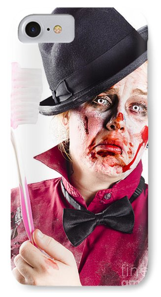 Diseased Woman With Big Toothbrush IPhone Case