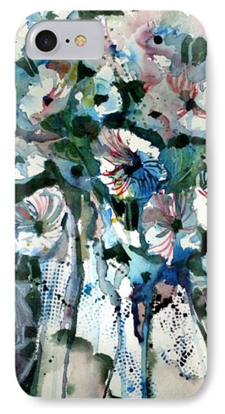 IPhone Case featuring the painting Disney Petunias by Mindy Newman