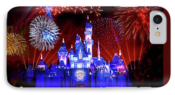 Disneyland 60th Anniversary Fireworks IPhone Case by Mark Andrew Thomas