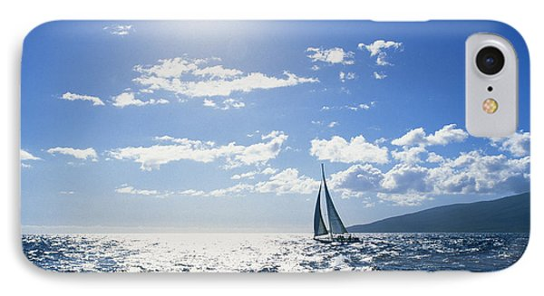 Distant View Of Sailboat Phone Case by Ron Dahlquist - Printscapes