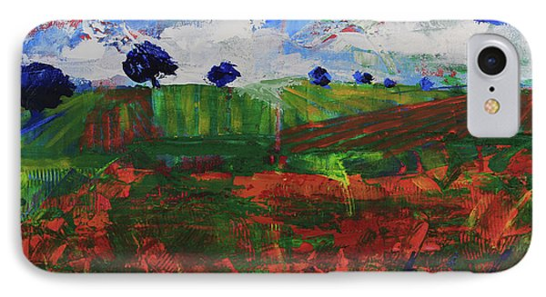 IPhone Case featuring the painting Distant Vineyards by Walter Fahmy