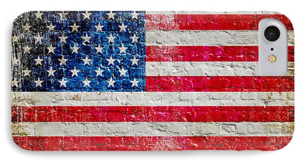 Distressed American Flag On Old Brick Wall - Horizontal IPhone Case by M L C