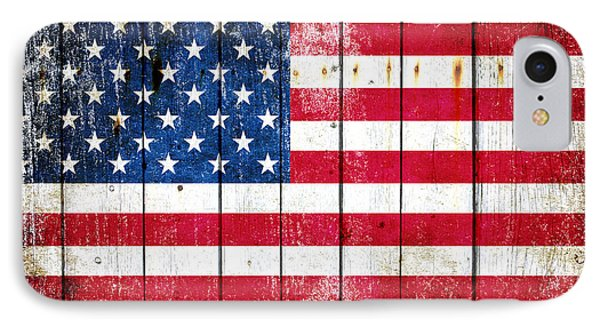 Distressed American Flag On Wood Planks - Horizontal IPhone Case by M L C