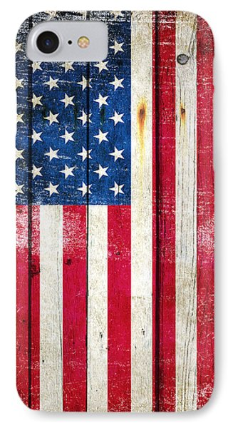 Distressed American Flag On Wood - Vertical IPhone Case by M L C