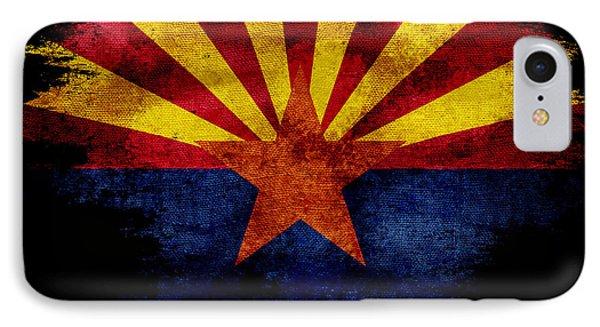 Distressed Arizona Flag On Black IPhone Case by Jon Neidert