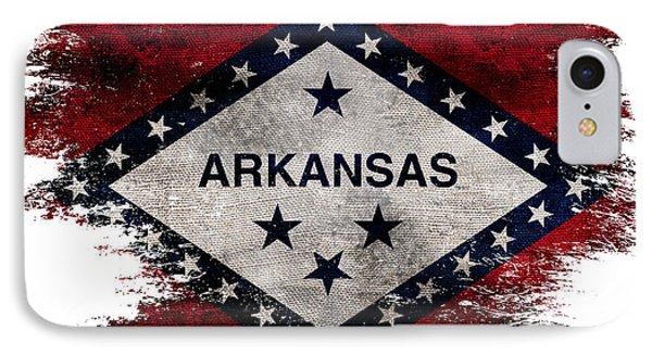 Distressed Arkansas Flag IPhone Case by Jon Neidert