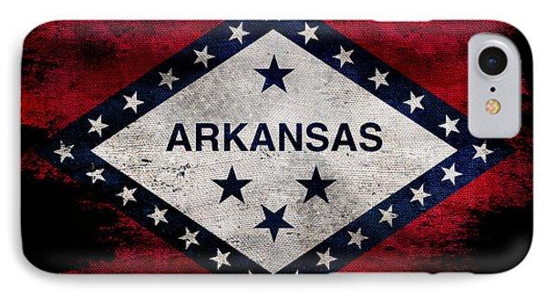 Distressed Arkansas Flag On Black IPhone Case by Jon Neidert