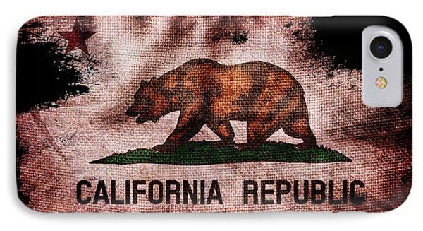 Distressed California Flag On Black IPhone Case by Jon Neidert