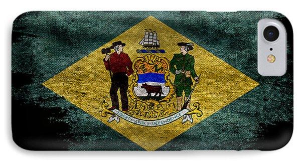 Distressed Delaware Flag On Black IPhone Case by Jon Neidert