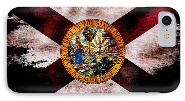 Distressed Florida Flag On Black IPhone Case by Jon Neidert