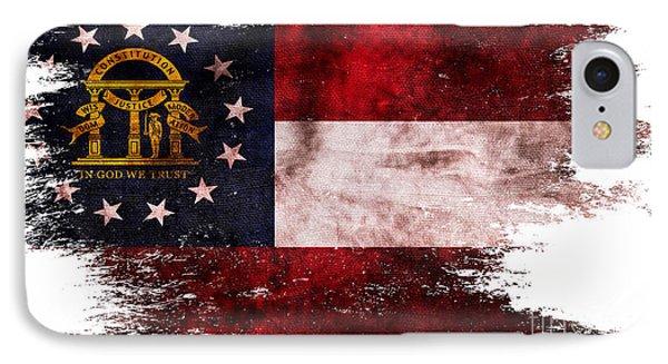 Distressed Georgia Flag IPhone Case by Jon Neidert