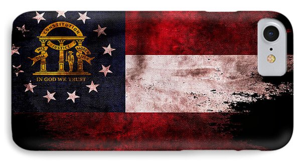 Distressed Georgia Flag On Black IPhone Case by Jon Neidert