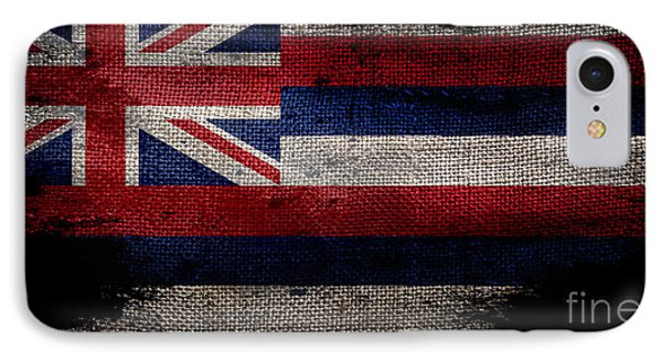 Distressed Hawaii Flag On Black IPhone Case by Jon Neidert