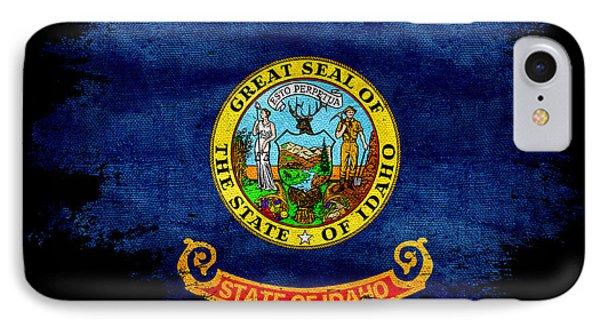 Distressed Idaho Flag On Black IPhone Case