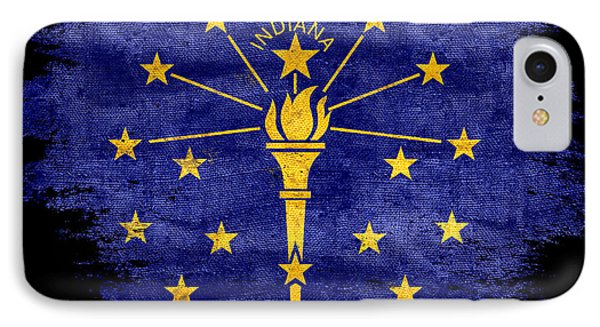 Distressed Indiana Flag On Black IPhone Case