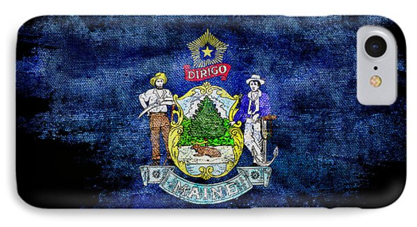 Distressed Maine Flag On Black IPhone Case by Jon Neidert