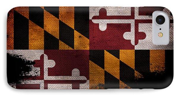 Distressed Maryland Flag On Black IPhone Case by Jon Neidert