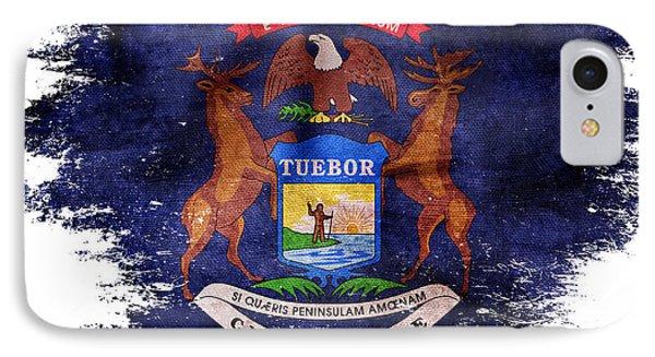 Distressed Michigan Flag IPhone Case by Jon Neidert