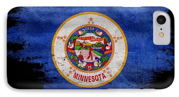 Distressed Minnesota Flag On Black IPhone Case