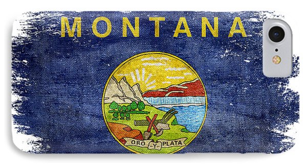 Distressed Montana Flag IPhone Case by Jon Neidert
