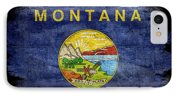 Distressed Montana Flag On Black IPhone Case by Jon Neidert
