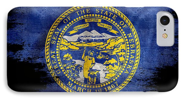 Distressed Nebraska Flag On Black IPhone Case