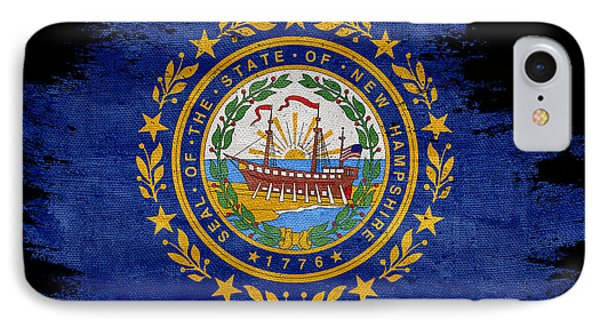Distressed New Hampshire Flag On Black IPhone Case