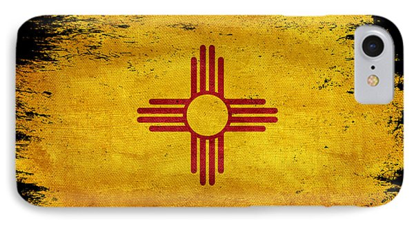 Distressed New Mexico Flag On Black IPhone Case by Jon Neidert