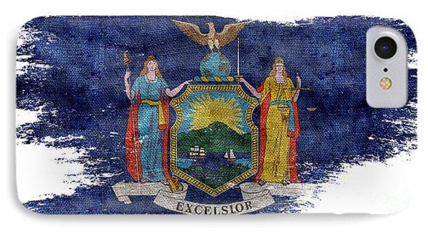 Distressed New York Flag IPhone Case by Jon Neidert