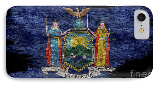 Distressed New York Flag On Black IPhone Case by Jon Neidert