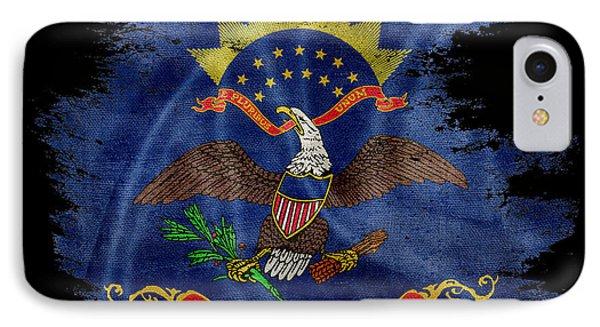 Distressed North Dakota Flag On Black 2 IPhone Case