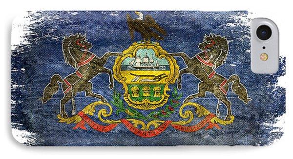 Distressed Pennsylvania Flag IPhone Case by Jon Neidert