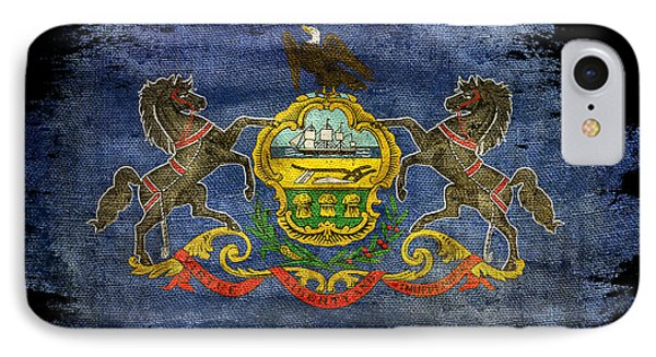 Distressed Pennsylvania Flag On Black IPhone Case by Jon Neidert