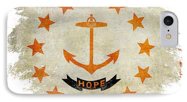 Distressed Rhode Island Flag IPhone Case by Jon Neidert