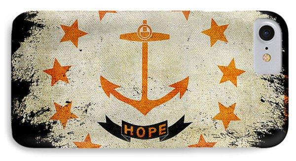 Distressed Rhode Island Flag On Black IPhone Case by Jon Neidert