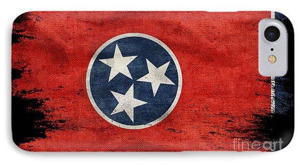Distressed Tennessee Flag On Black IPhone Case by Jon Neidert