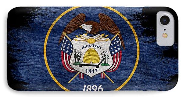 Distressed Utah Flag On Black IPhone Case by Jon Neidert