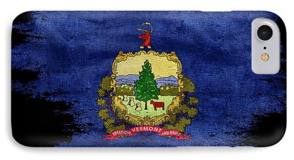 Distressed Vermont Flag On Black IPhone Case by Jon Neidert