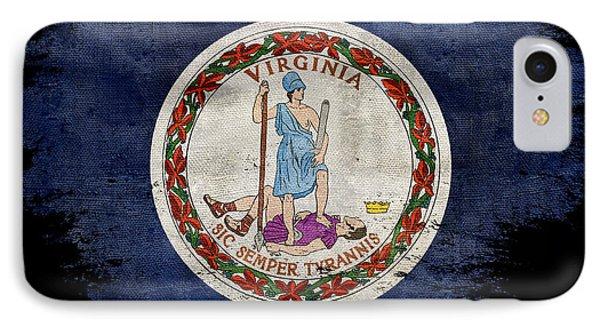 Distressed Virginia Flag On Black IPhone Case by Jon Neidert
