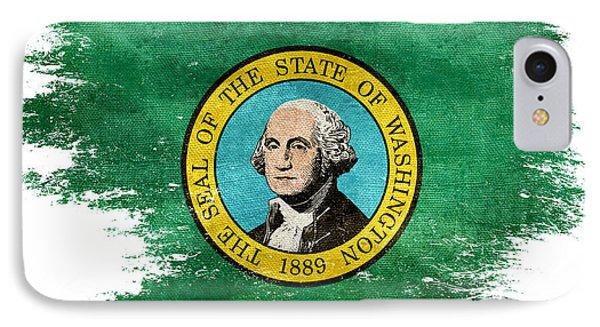 Distressed Washington Flag IPhone Case by Jon Neidert