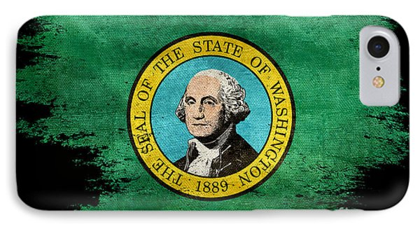 Distressed Washington Flag On Black IPhone Case by Jon Neidert