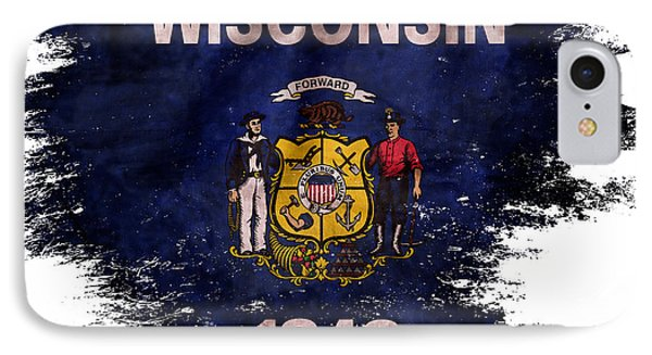 Distressed  Wisconsin Flag IPhone Case by Jon Neidert