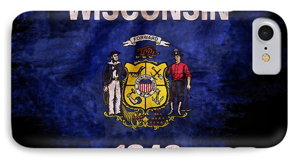Distressed  Wisconsin Flag On Black IPhone Case by Jon Neidert