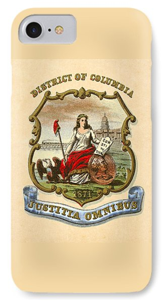 District Of Columbia Historical Coat Of Arms Circa 1876 IPhone Case by Serge Averbukh