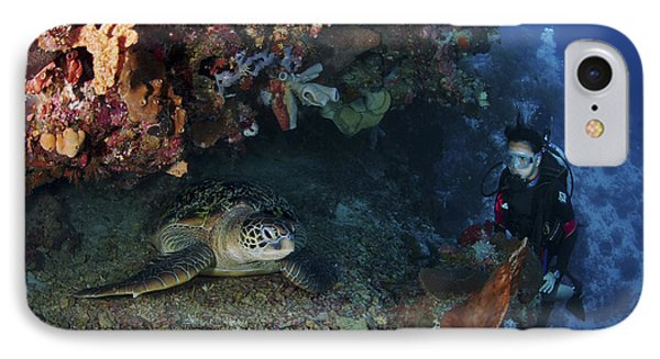 Diver And Sea Turtle, Manado, North Phone Case by Mathieu Meur