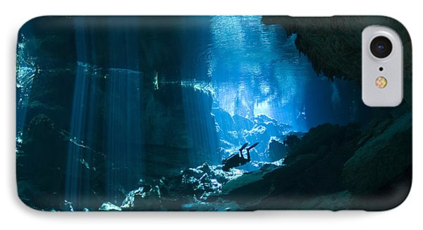 Diver Enters The Cavern System N Phone Case by Karen Doody