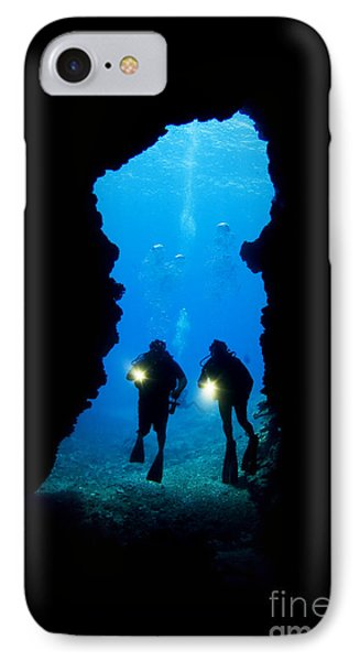 Divers Silhouetted Through Reef Phone Case by Dave Fleetham - Printscapes