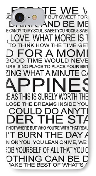 Dmb Song Lyrics Word Art IPhone Case by Sarah St Pierre