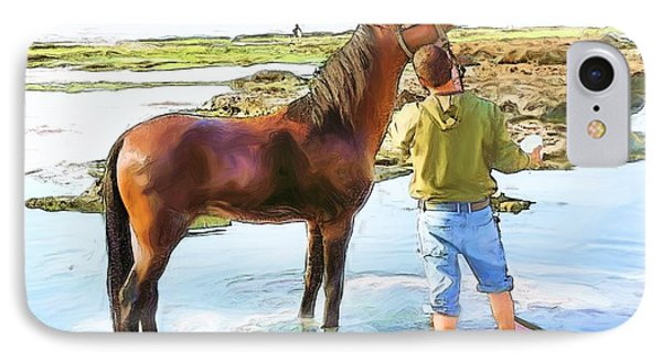 Do-00421 Washing Horse In Mina IPhone Case by Digital Oil