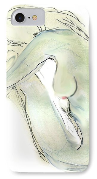 IPhone Case featuring the drawing Do You Think - Female Nude by Carolyn Weltman